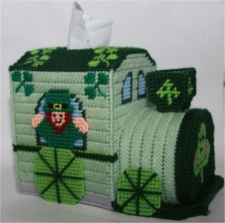 St. Patricks Day Train Tissue Topper Plastic Canvas Pattern