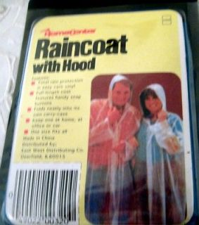 plastic hooded full length adult snap raincoat yellow