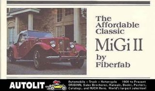 1952 1980 mg td migi ii fiberfab kit car brochure  7 99 buy