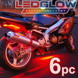 red motorcycle led neon lighting kit w wireless remote time
