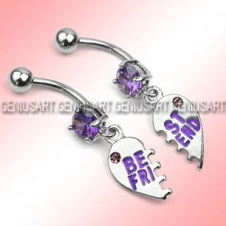 Surgical Steel BEST FRIEND Dangle Belly Navel Barbell Button Bar Ring