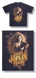 New Janis Joplin Pearl Image ornate design Black Large T shirt