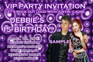 justin bieber custom photo birthday party invitations