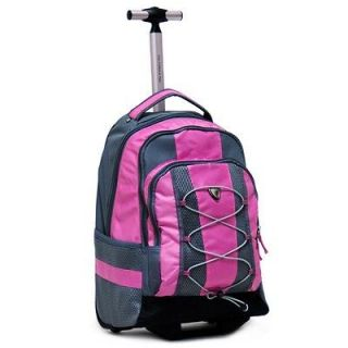 18 Pink Rolling Backpack Wheeled College Bookbag Travel Carry on Drop