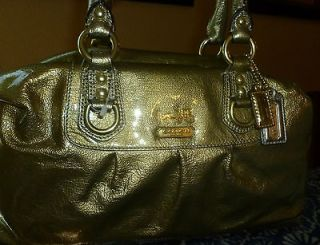 New Coach Madison Sabrina 15385 antique Gold patent leather Bag