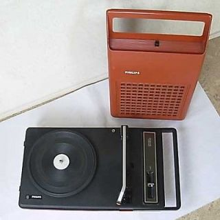 1970s Rare Vintage Red Philips 123 Portable Record Player Turntable
