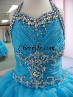 6234 Turquoise Size 6 GIRLS NATIONAL PAGEANT GOWN FORMAL DRESS NWT