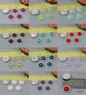 Beautiful Round Diamante Rhinestone Crystal Pearl Cluster Scrapbooking