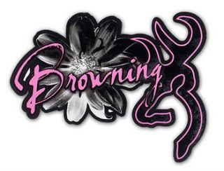 Official Browning Buckmark Daisy Pink / Black Decal for Auto Car Truck