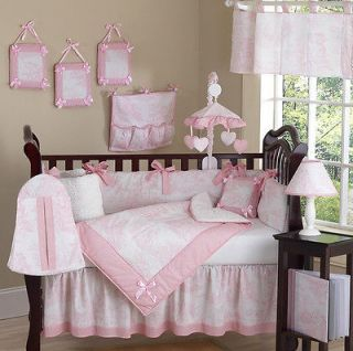Newly listed CHEAP PINK WHITE TOILE BABY BEDDING CRIB SET FOR NEWBORN