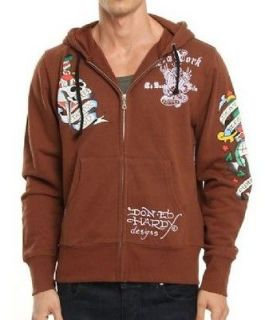 Ed Hardy by Christian Audigier New York City Hoodie brown mens L $169