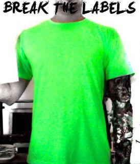 plain neon green t shirt fluorescent all sizes nu rave