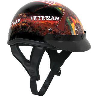 Glossy Motorcycle Half Helmet with Vietnam Veteran of America Graphics