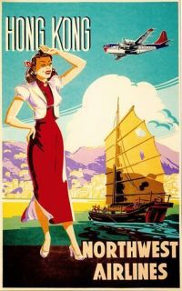 Vintage Northwest Airlines Hong Kong Travel Poster A3 / A2 Reprint