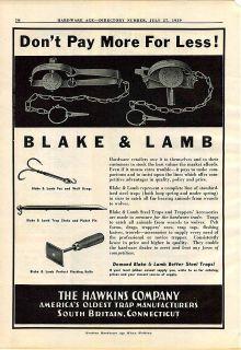 1939 ad Blake & Lamb Steel Leg Hold Traps Fox Wolf Drags Bond