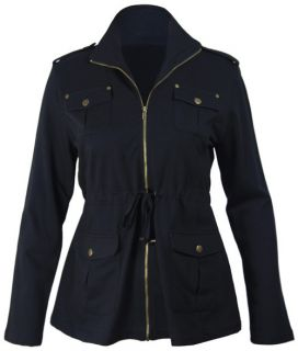 New Plus Size Womens Long Sleeve Jacket Ladies Military Pocket Zip