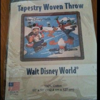 DISNEY Walt Disney World Woven Throw NEW In Package Mickey Mouse Pluto