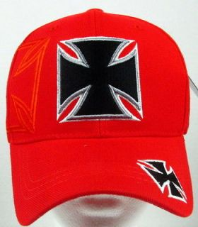 new red chopper iron cross baseball cap hat