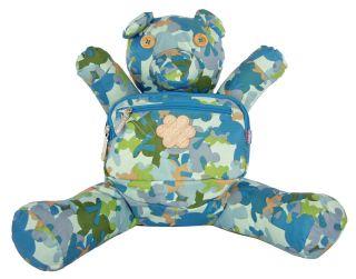 OILILY Boys Blue Stuffed Teddy Bear Camo PRINT BACKPACK/Bag. NEW