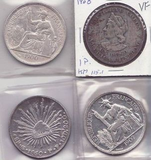 lot 4 old latin american and french indo china silver