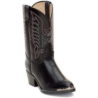 durango bt940 kid s black lizard western boots size 5 m