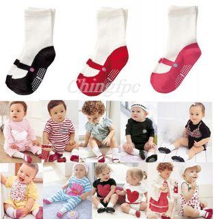 Baby Kids Children Girl Infant Toddler Anti slip Shoes Cotton Socks 6
