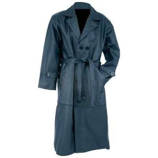 Black Solid Leather Trench Coat Full Length Duster Mens NEW