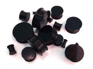 PAIR SUPER FLEX Premium Black Silicone Ear Flesh Tunnel *PLUGS*