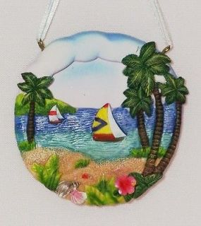 Sailboat Xmas Ornament Ceramic Palm Tree Tropical Island Beach 3 New