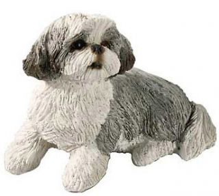 sandicast dog figurine sculpture shih tzu silver white expedited