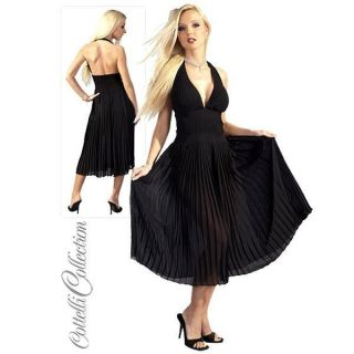 Black Marilyn Monroe Style Dress, Sexy Pleated Halter Dress