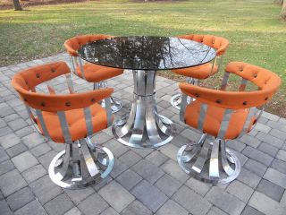 Mid Century Modern Russell Woodard High Polished Chrome Dining Set