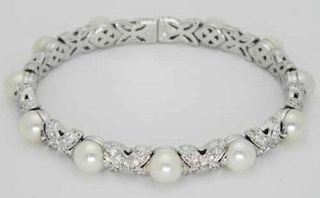 Bvlgari Bulgari 18K White Gold Diamonds Pearls Cuff Bangle Bracelet