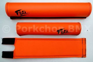 FLITE BMX padset pads   ORANGE W/ BLACK 80s LOGO   NEW