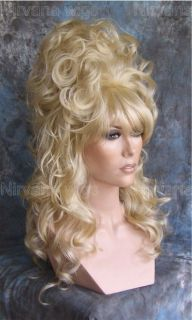 Light Golden Blonde Cascading Curls High Beehive Drag/Mens Womens wig