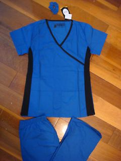 Fior Stretch Stylish Nursing Scrubs Set Royal Side Black Spandex XS S