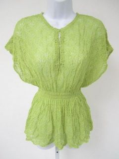 Lime Green Open Knit Cap Sleeve Tunic Blouse Shirt Sz S PAULA ABDUL