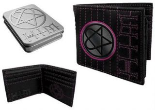 Heartagram Metal Badge Logo Bi Fold Leather Wallet In Picture