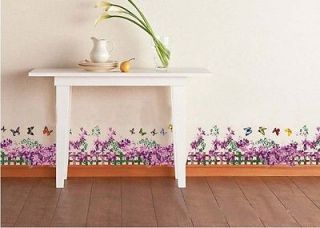 Butterfly Fence flower stickers wall Decal Removable Art Vinyl Decor