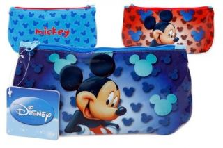MICKEY MOUSE Little Pencil Case School Bag Disney COOL Blue or Red NEW
