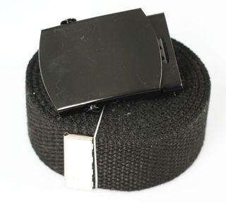 plain black canvas web belt buckle