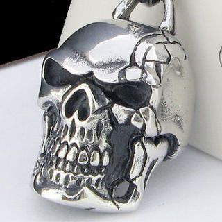 COOL SKULL Pendant Stainless Steel Necklace 22 CURB CHAIN NEW