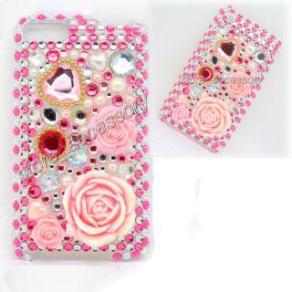 pink rose rhinestone crystal bling back case cover skin for