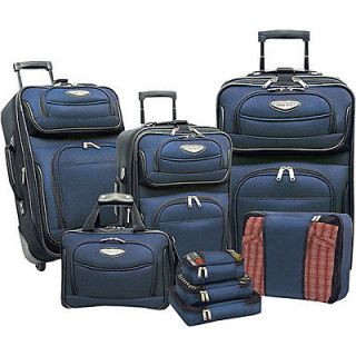 traveler s choice amsterdam 8 piece luggage set navy time