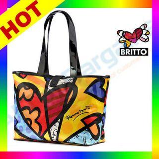 2012 Romero Britto Satin Large Tote Bag Heart Design Medium New Pop