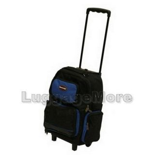 16.5 ROYAL BLUE ROLLING WHEELED BACKPACK/BOOKBAG Drop Handle (7