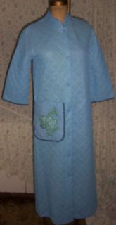 Quilted House / Lounging Robe Sz 12 Blue Embroidered with Rick Rack