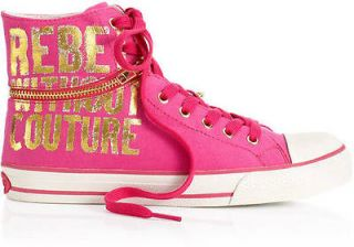 NIB JUICY COUTURE AUTH WOMENS BANTER SHOES SNEAKERS PINK BLACK HI TOP