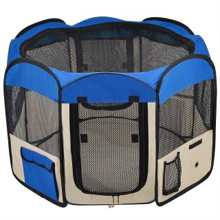 Soft Pet Playpen Dog Guinea Pig Puppy Exercise Crate Pen Kennel Blue