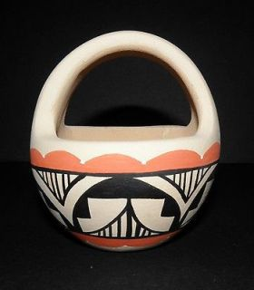 Jemez Pueblo Pottery Basket Bowl Vase Native American Indian Yepa New